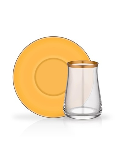 Glore Colored Sarı 6 Kişilik Çay Seti Renkli